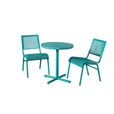 Blue 3-Piece Metal Bixby Outdoor Bistro Set