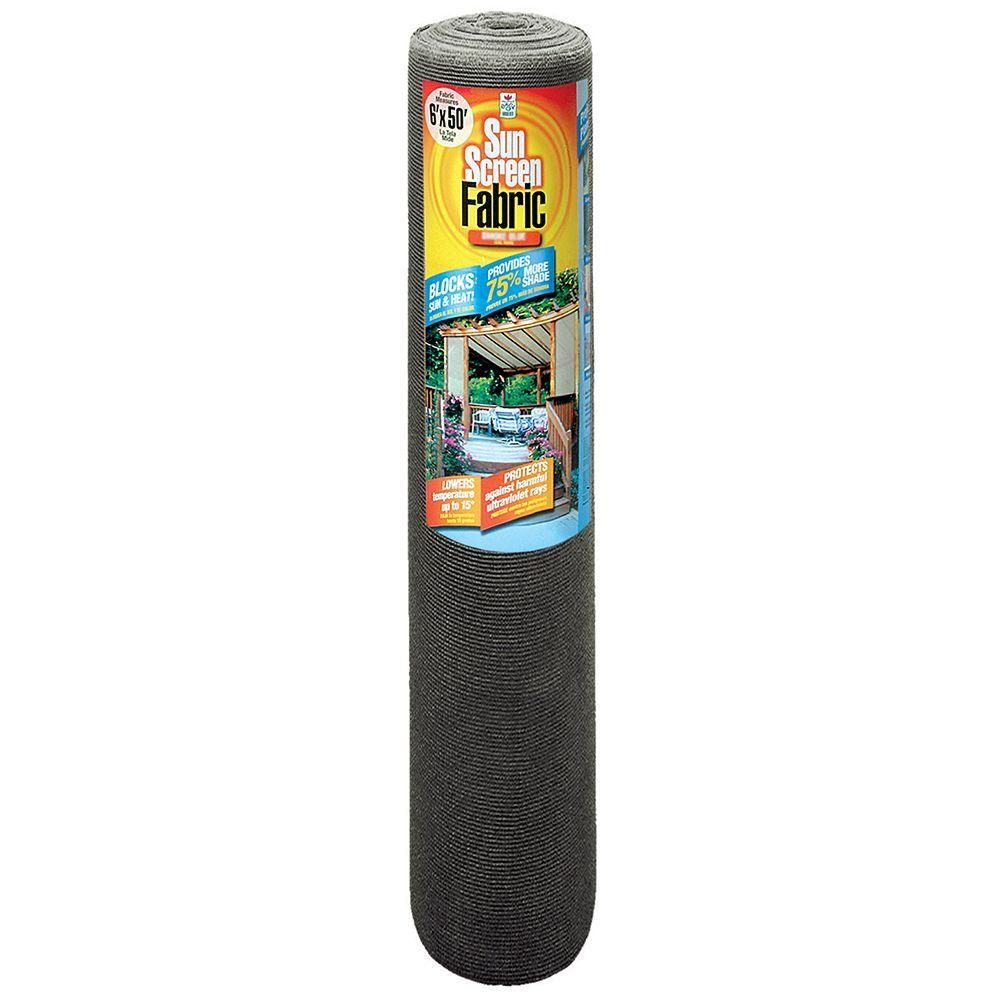 Bon Easy Gardener 6 Ft. X 50 Ft. Sun Screen Fabric Shade Canopy In Black