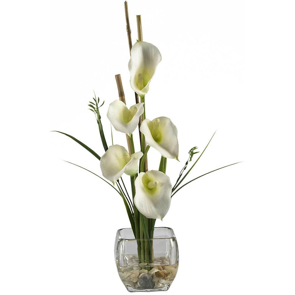 18 in. Calla Lilly Liquid Illusion Silk Flower Arrangement in Cream