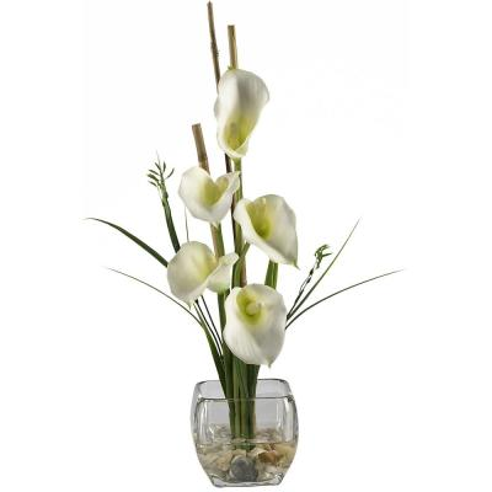 18 in. Calla Lilly Liquid Illusion Silk Flower Arrangement in Cream