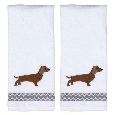 Dachshund 2-Piece 100% Cotton Hand Towel Set in White