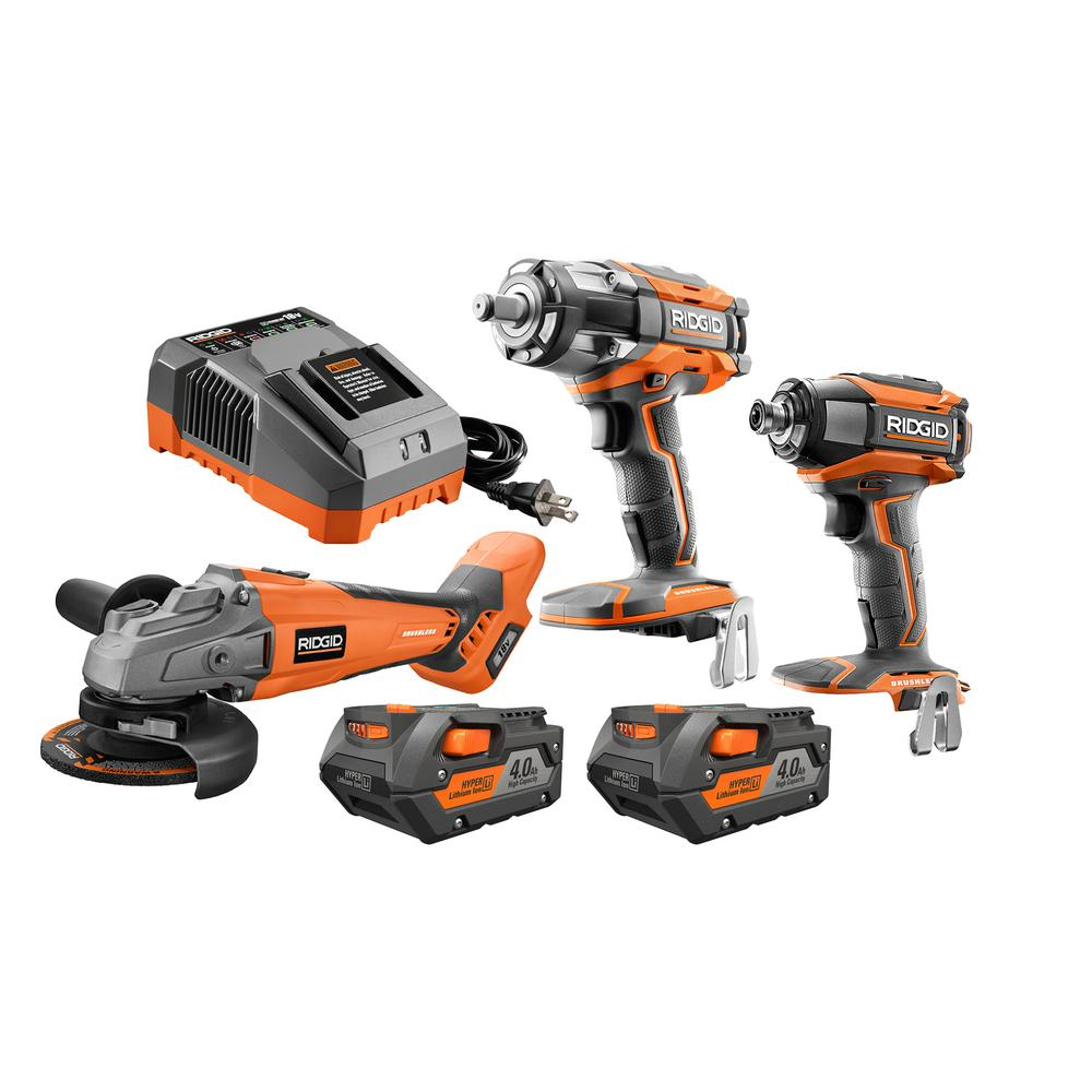 RIDGID 18-Volt Cordless Lithium-Ion Brushless 3-Tool Automotive Combo Kit with (2) 4.0 Ah Batteries and Charger