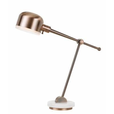 31 in. Copper Metal Table/Desk Lamp with White Marble Base