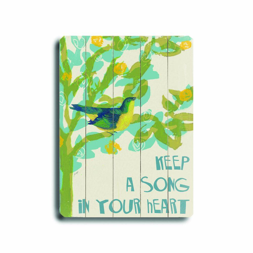 ArteHouse 14 in. x 20 in. Song in Your Heart Wood Sign-DISCONTINUED