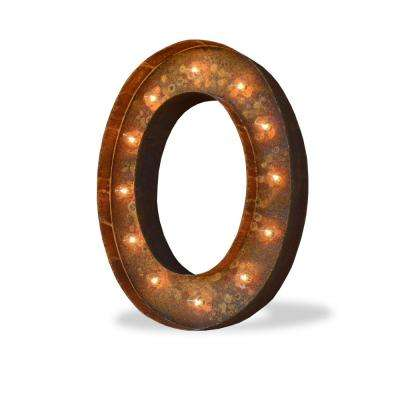 24 in. High Rusted Steel Alphabet Letter O Plug-In Marquee Lights