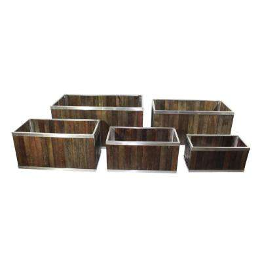 18 in. x 36 in. Rectangular Dark Brown Wooden Planter Box with Stainless Steel Trim