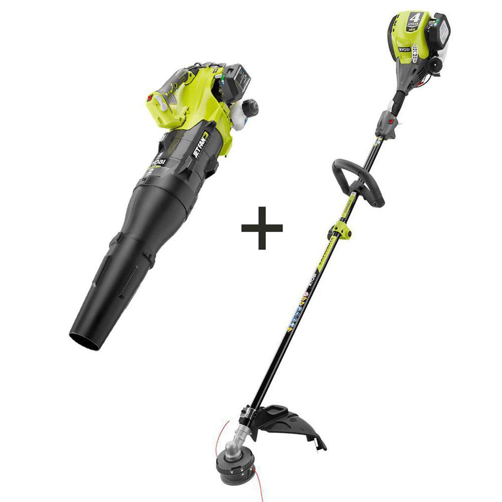 Ryobi 30 Cc 4 Cycle Attachment Capable Straight Shaft Gas Trimmer And 2 Cycle 25 Cc Gas Jet Fan Blower Ry4css 2x The Home Depot
