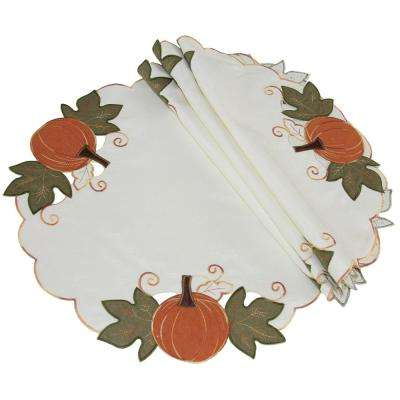 16 in. Pumpkin Patch Embroidered Cutwork Linens Collection Round Doily (4-Set)