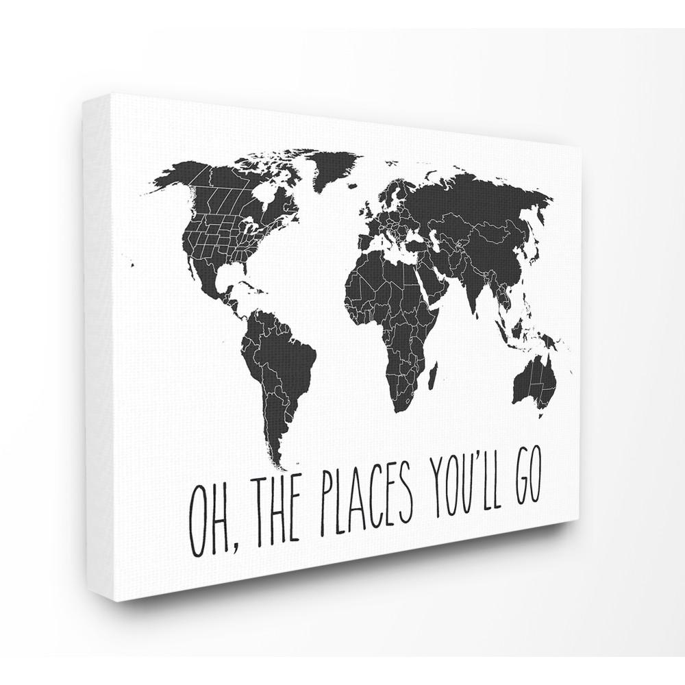 Stupell Industries 30 In X 40 In Quot Black And White Map Oh