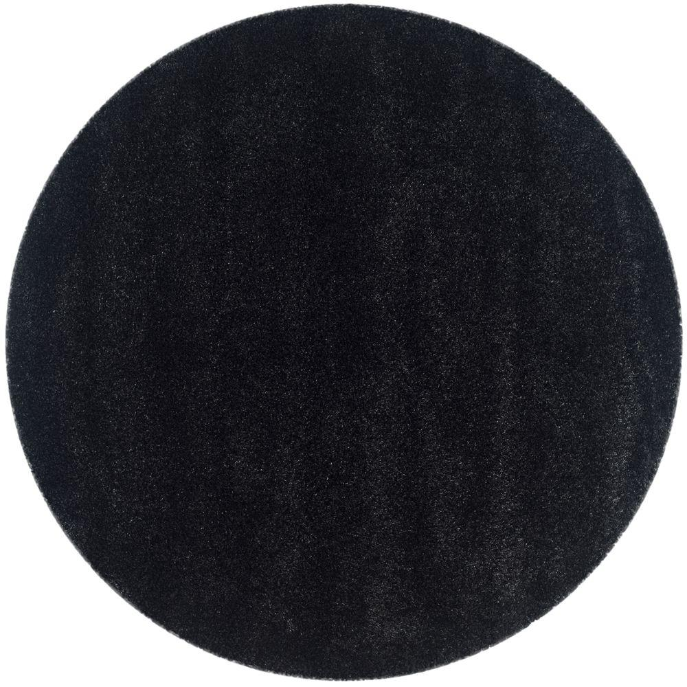 Safavieh Himalaya Turquoise 4 Ft X 4 Ft Round Area Rug: Safavieh California Shag Black 4 Ft. X 4 Ft. Round Area