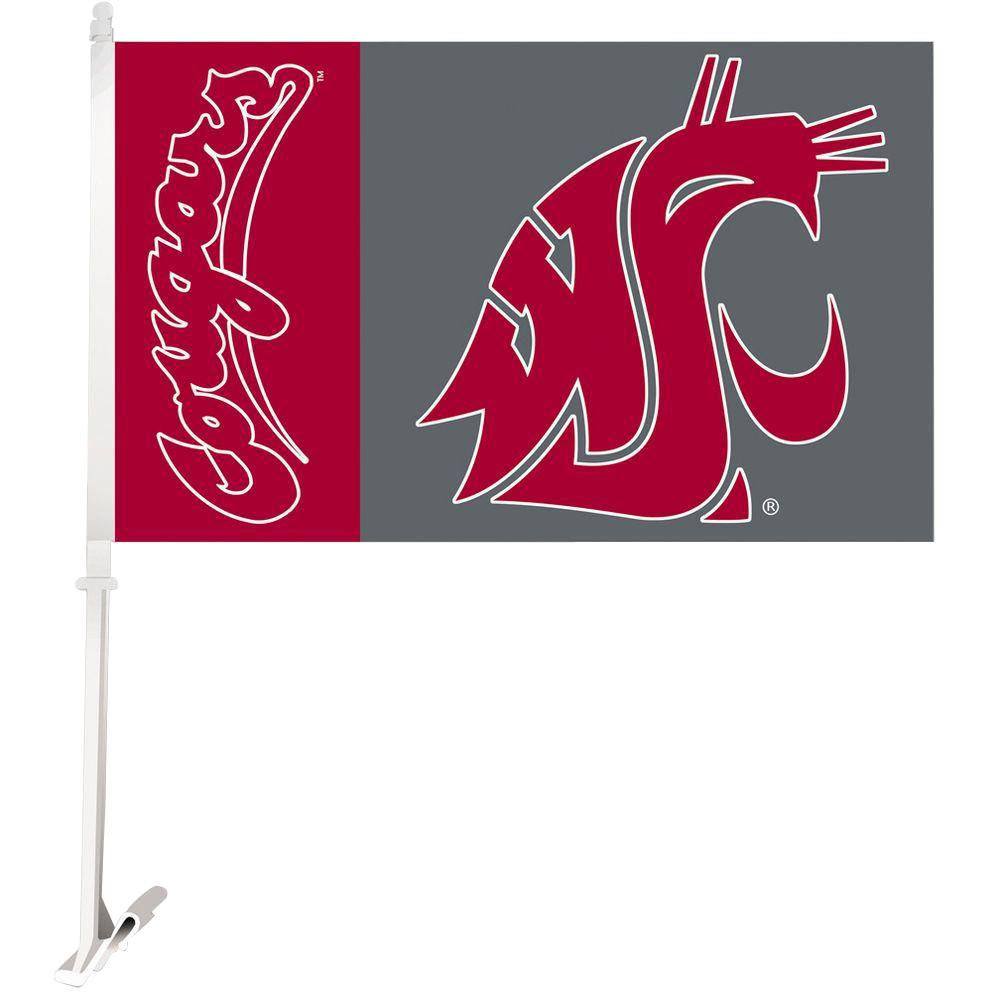 BSI Products NCAA 11 in. x 18 in. Washington State 2-Sided Car Flag with 1-1/2 ft. Plastic Flagpole (Set of 2)