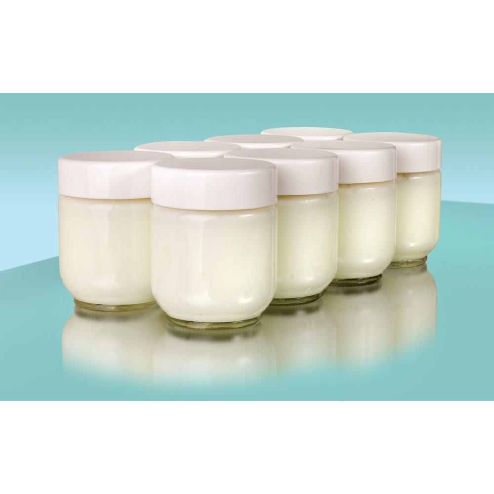 Euro Cuisine Set 8 Glass Jars with Lid Yogurt Maker Model YM80 and