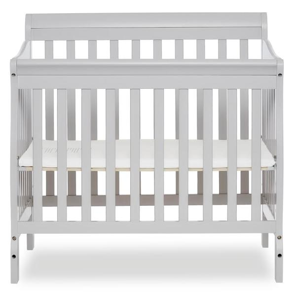 Dream On Me Aden Grey 4-in-1 Convertible Mini Crib 628-G