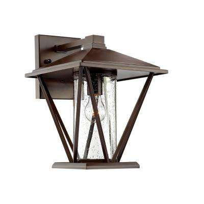 1-Light 14-1/4 in. High Powder Coated Bronze Outdoor Wall Sconce with Glass Shade