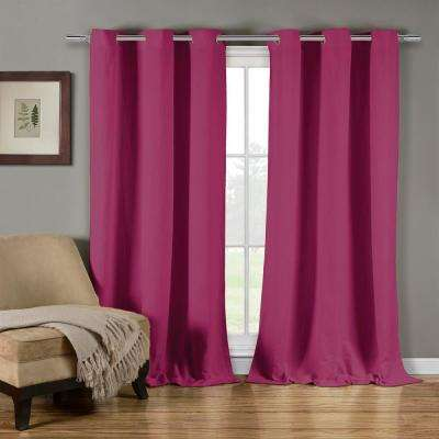 Mildred 38 in. W x 84 in. L Polyester Window Panel in Fuchsia