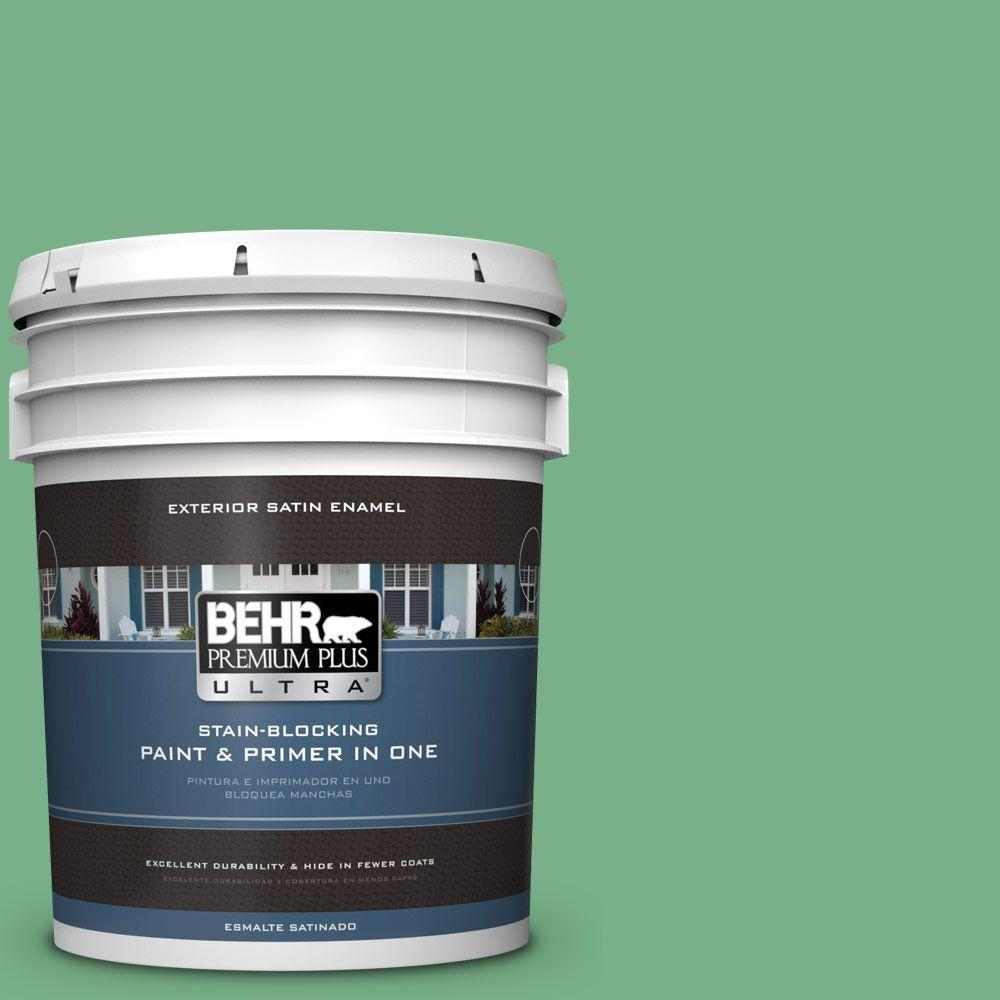 5-gal. #M410-5 Green Bank Satin Enamel Exterior Paint