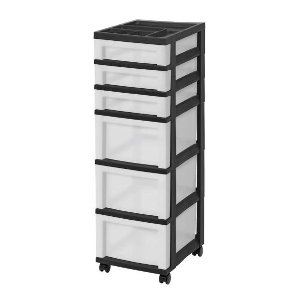14.25 in. L x 12.05 in. W x 22.25 in. H 6-Drawer Storage Cart with Organizer Top in Black and Pearl