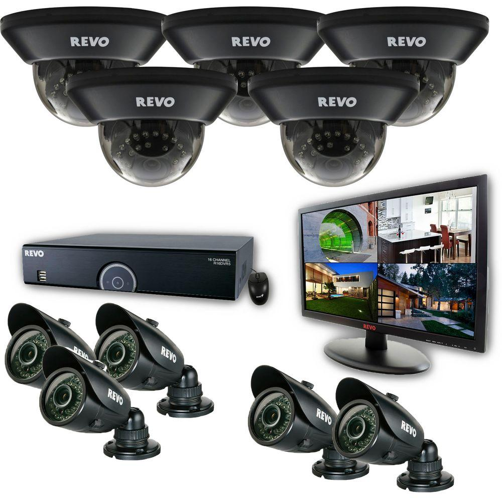 Revo 16-Channel 4TB 960H DVR Surveillance System with (10) 700 TVL 100 ft. Night Vision Cameras and 21.5 in. Monitor