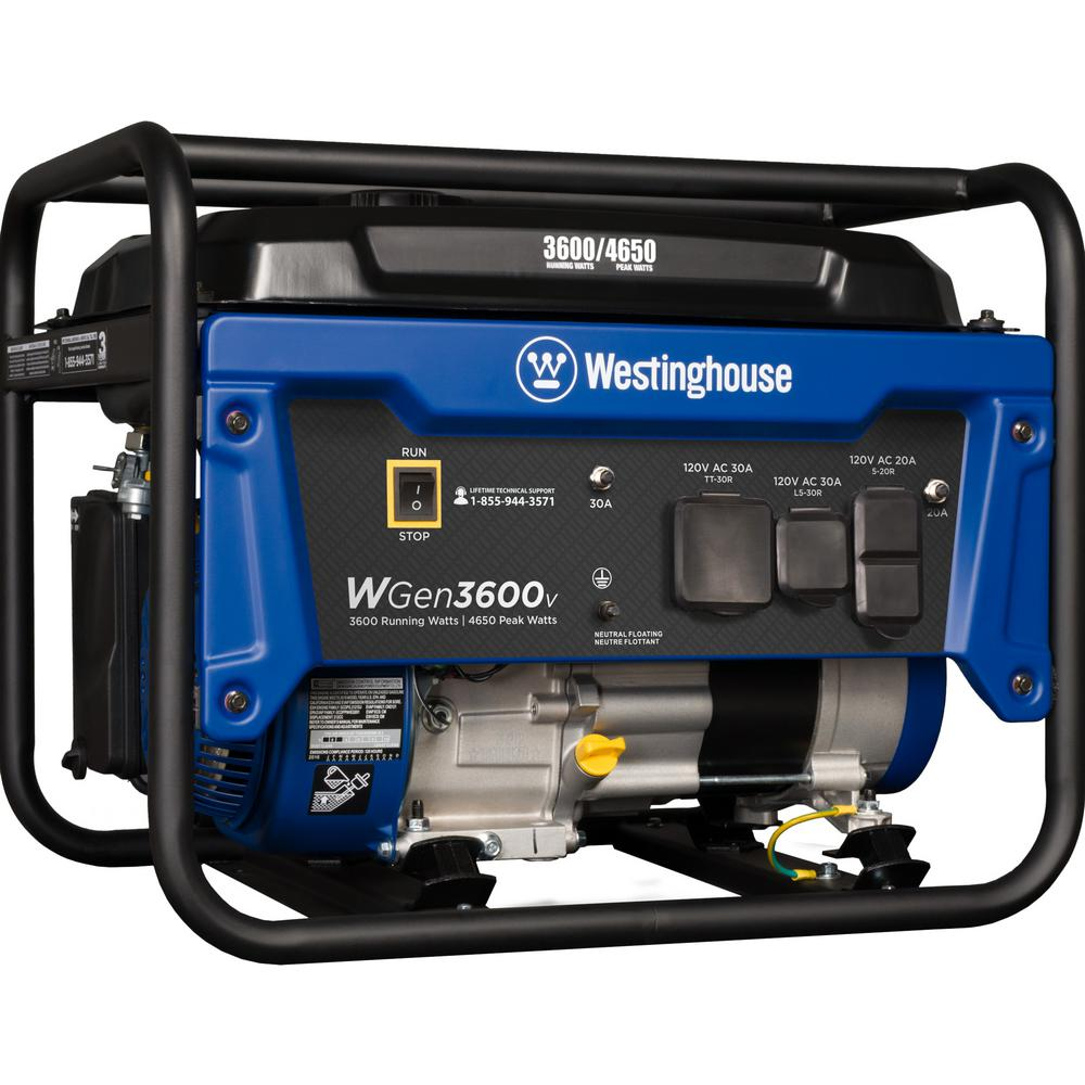 Westinghouse 4,650/3,600-Watt Gasoline Powered RV-Ready Portable Generator with Automatic Low Oil Shutdown
