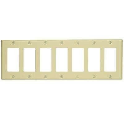 7-Gang Decora Switch Wall Plate, Ivory