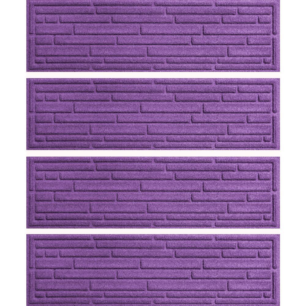 Purple 8.5 in. x 30 in. Broken Brick Stair Tread Cover (Set of 4)