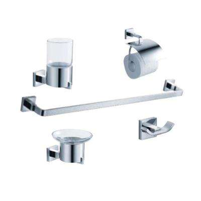 Glorioso Bath Suite with 24 in. Towel Bar, Soap Dish, Tumbler Holder, Toilet Paper Holder, and Robe Hook