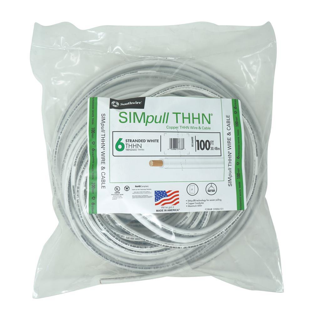 100 ft. 6 White Stranded CU SIMpull THHN Wire