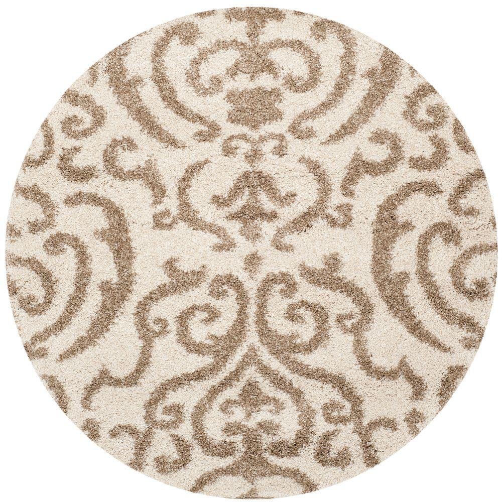 Florida Shag Cream/Beige 4 Ft. X 4 Ft. Round Area Rug