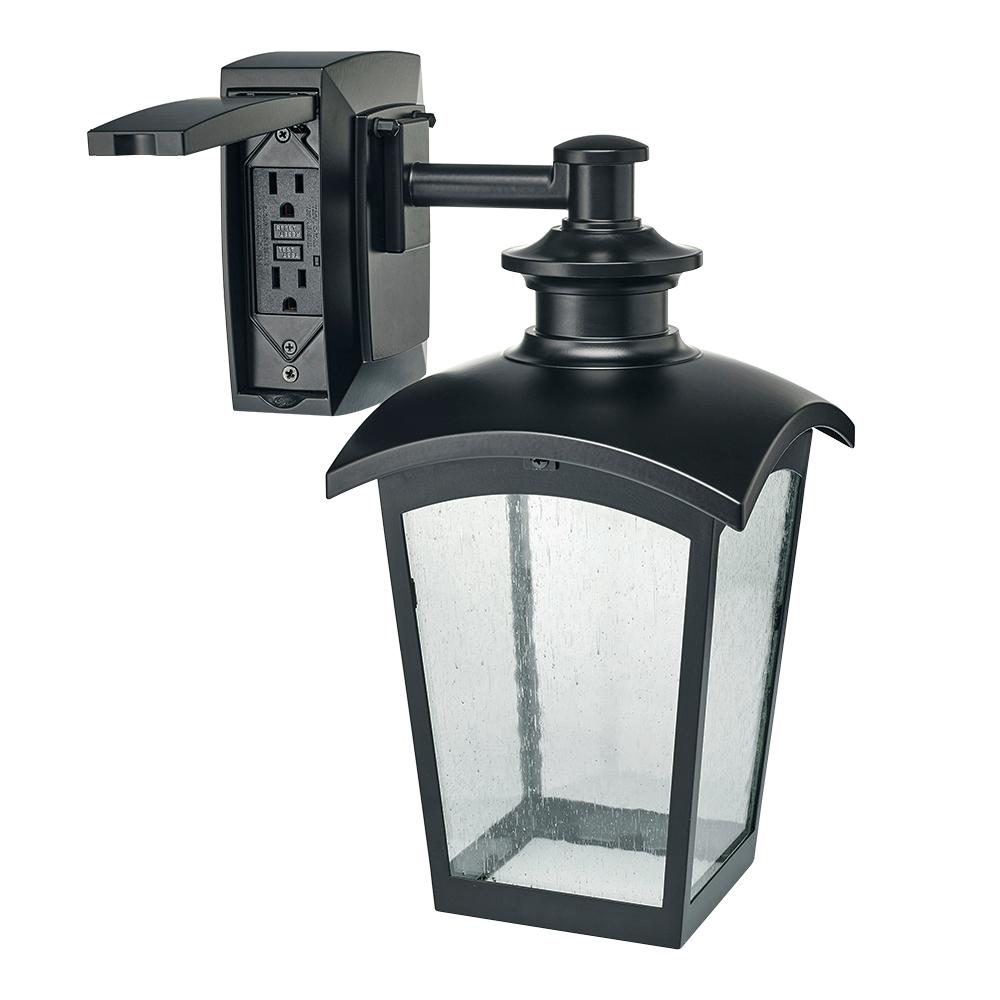 Captivating Hampton Bay Die Cast Exterior Lantern With GFCI Black MD