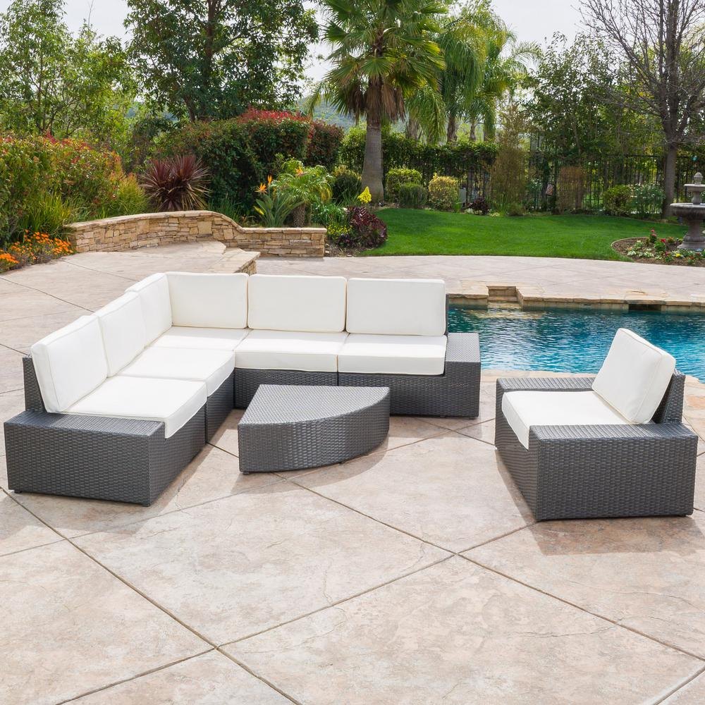 Magnificent Noble House Santa Cruz Grey 7 Piece Wicker Outdoor Sectional Set With White Cushions Unemploymentrelief Wooden Chair Designs For Living Room Unemploymentrelieforg