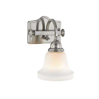 Hartley 1-Light Satin Nickel with Opal Glass Wall Sconce