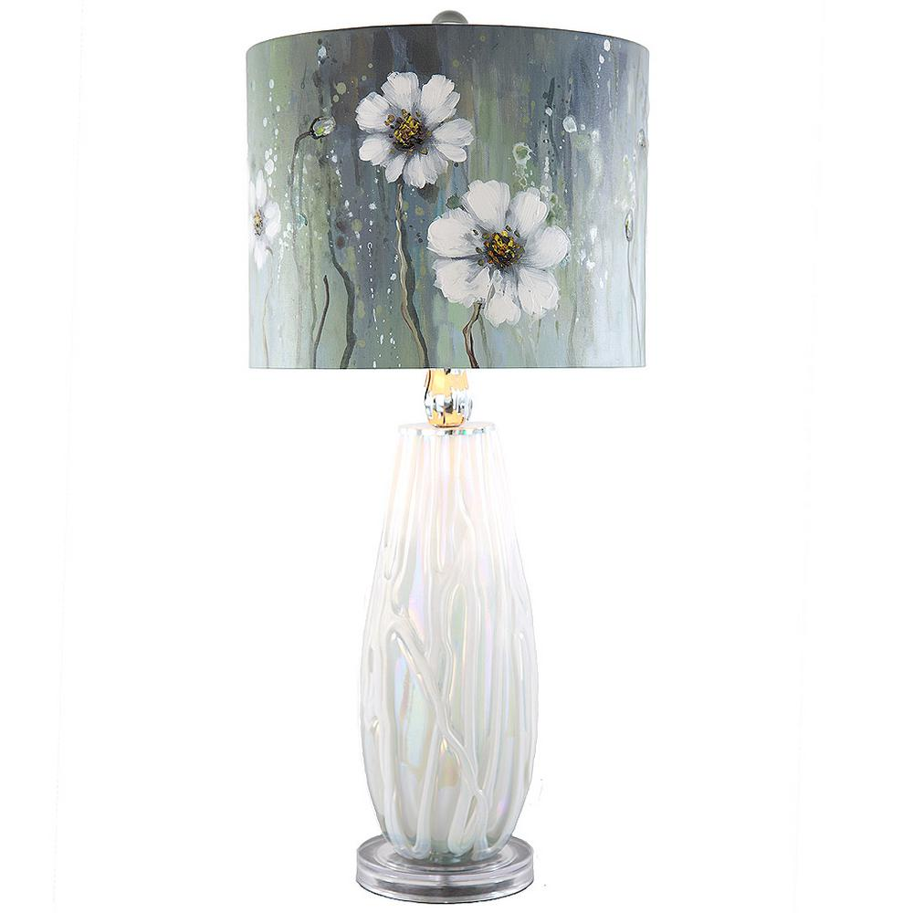 River Of Goods 285 In White Table Lamp With Hand Painted Jasmine
