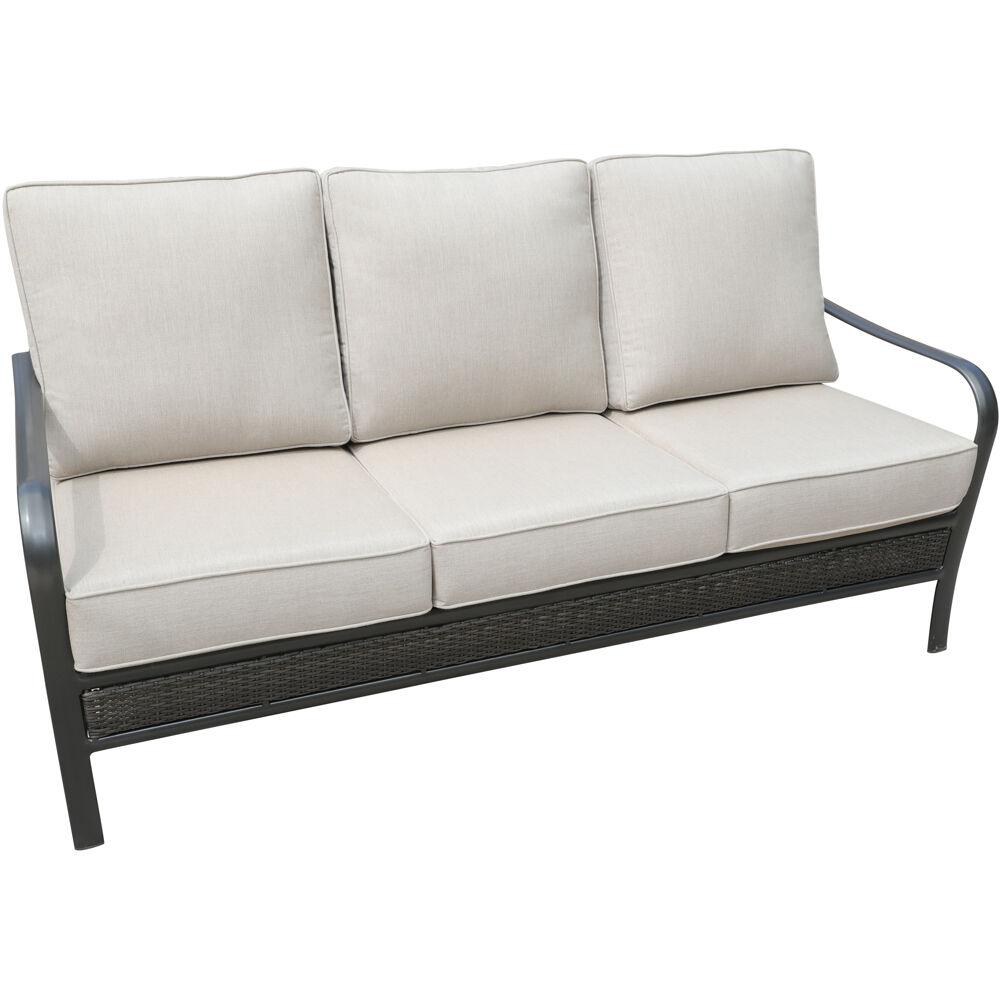 Hanover Oakmont Commercial Rust Free Aluminum Woven Outdoor Sofa With Sunbrella Tan Cushions