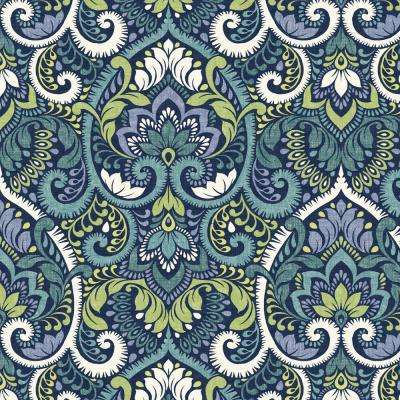Sapphire Aurora Damask Outdoor Fabric by The Yard