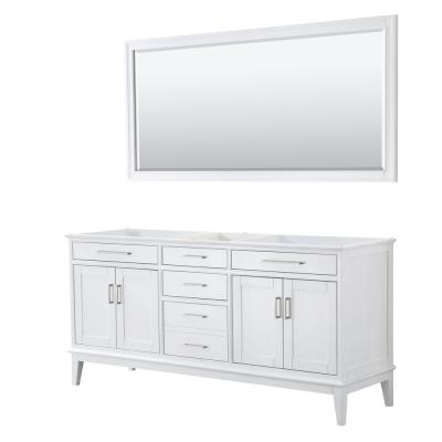 Margate 70.75 in. W x 21.5 in. D Bath Vanity Cabinet Only with 70 in. Mirror in White