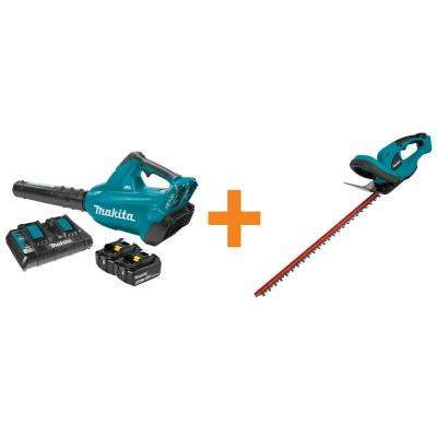 18-Volt X2 (36-Volt) LXT Lithium-Ion Brushless Cordless Blower Kit (5.0Ah) with Bonus Cordless 22 in. Hedge Trimmer