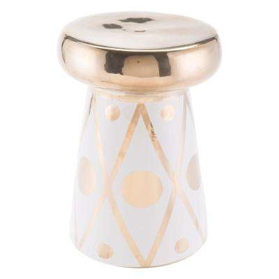 Dots Stone Gold and White Outdoor Side Table