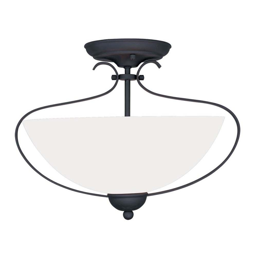 Livex Lighting Providence 2-Light Ceiling Black Incandescent Semi-Flush Mount