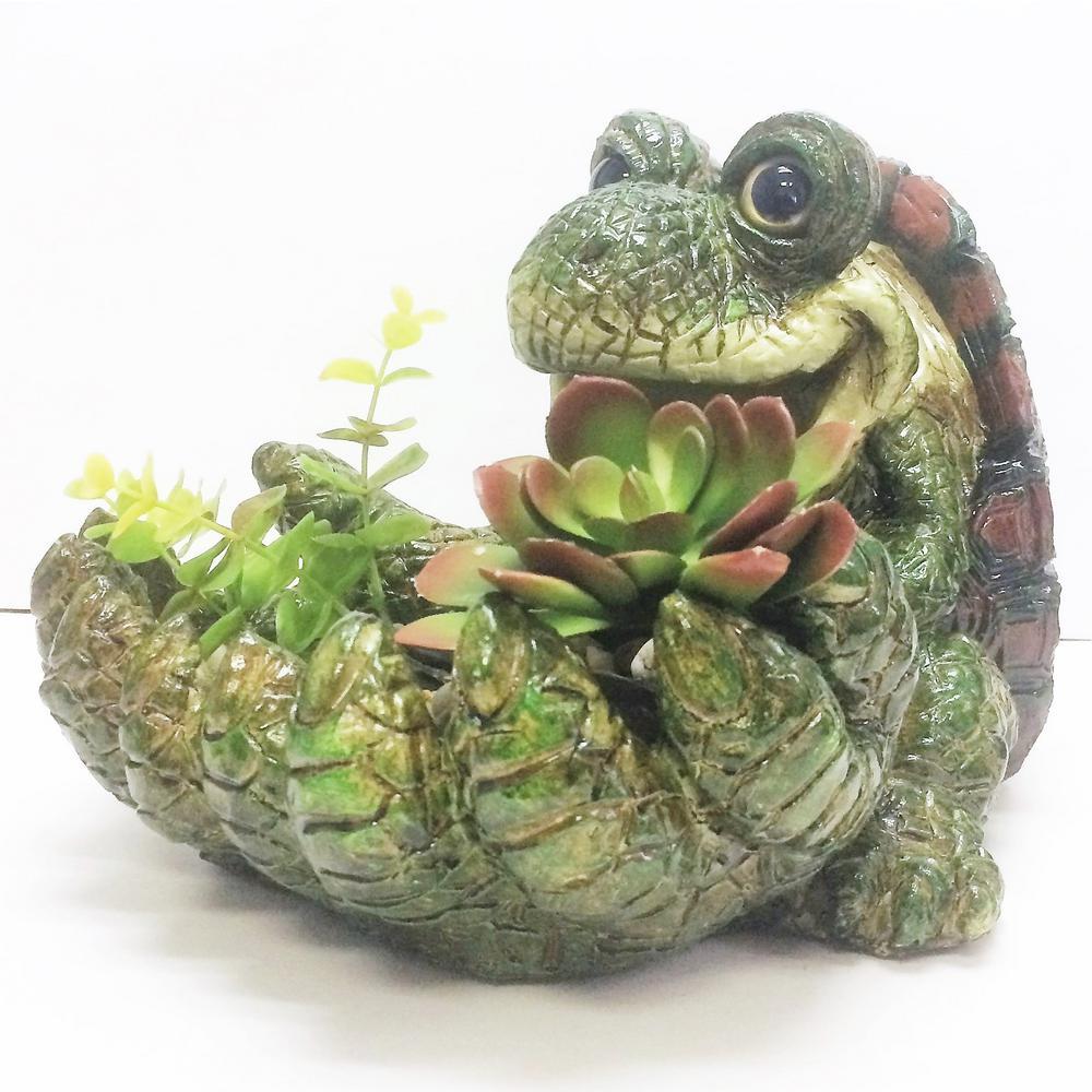17 in. Turtle Big Hands Multi-Function Planter, Bird Feeder, Bird Bath and Stone Garden Statue