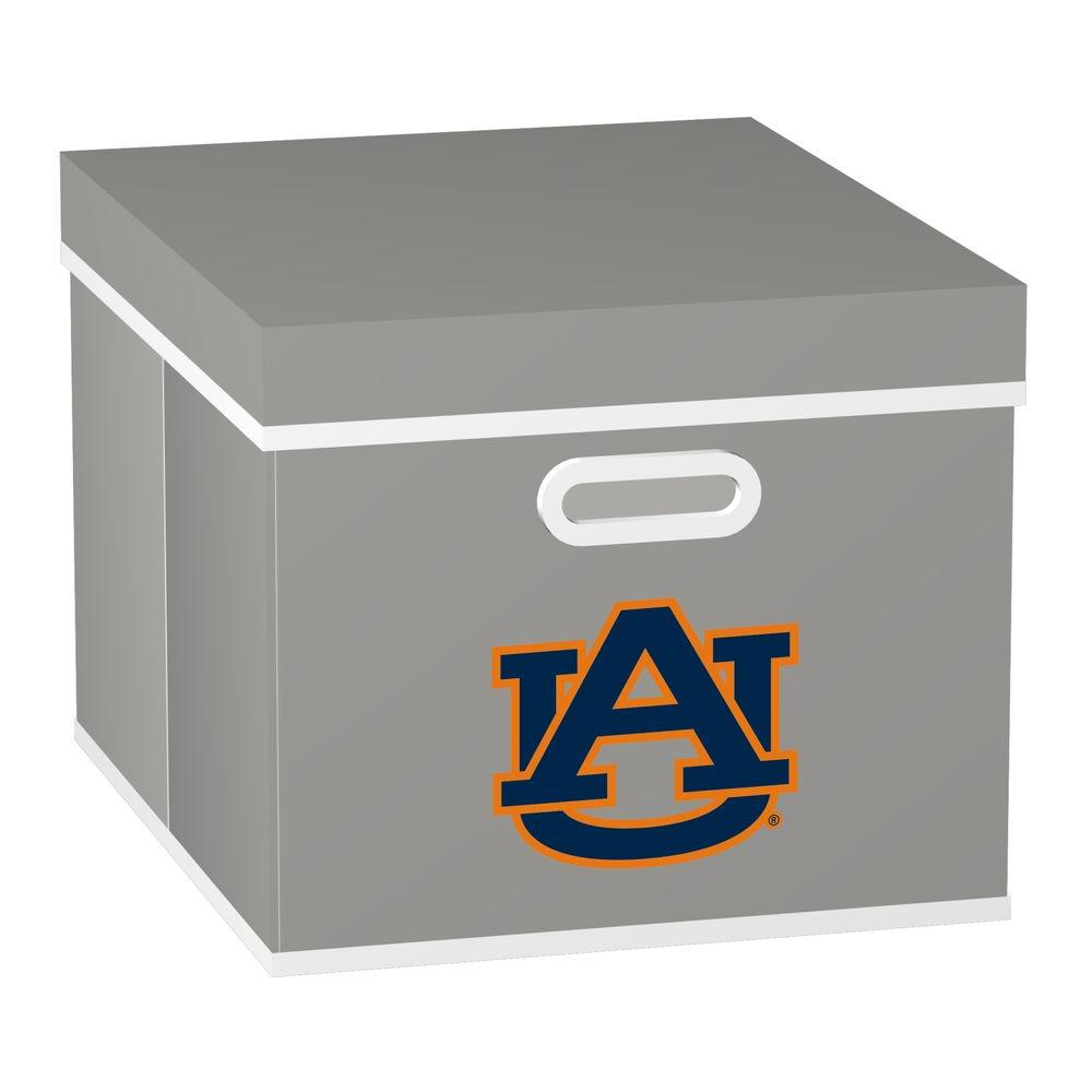 MyOwnersBox College STACKITS Auburn University 12 in. x 10 in. x 15 in. Stackable Grey Fabric Storage Cube