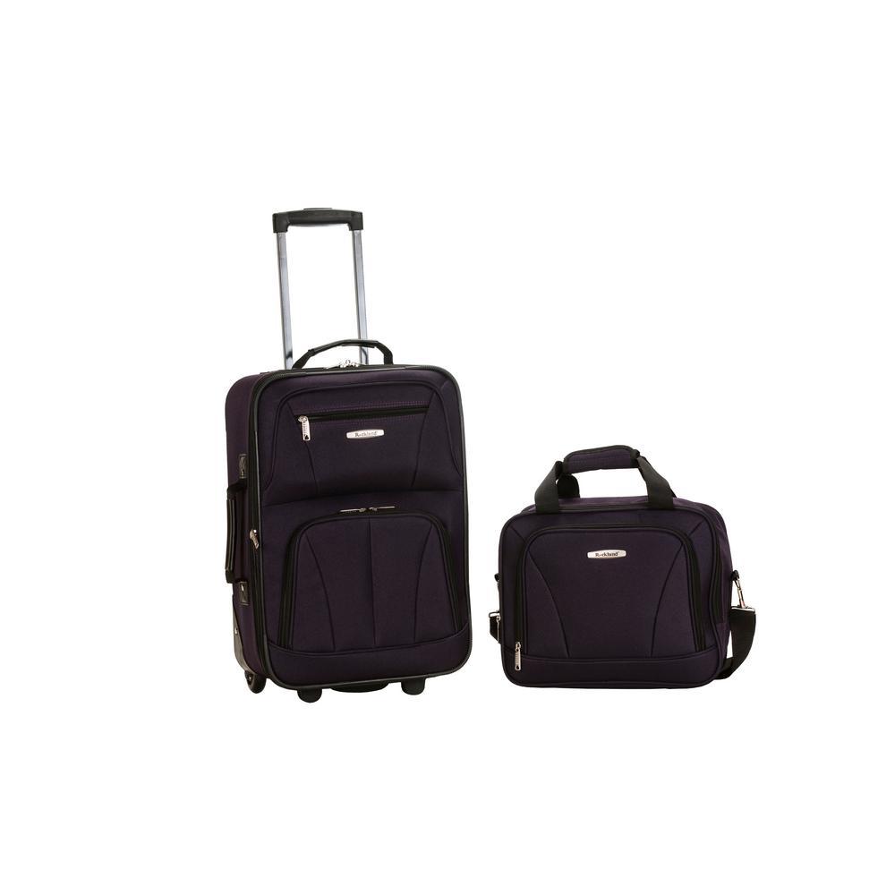 Rockland Rio Expandable 2-Piece Carry On Softside Luggage Set, Purple