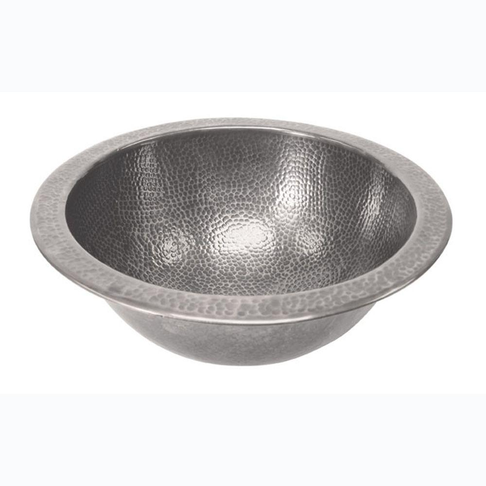 Barclay Products Self-Rimming Round Bathroom Sink in Hammered Pewter
