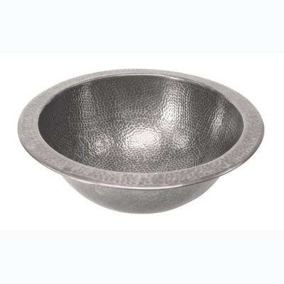 Self-Rimming Round Bathroom Sink in Hammered Pewter