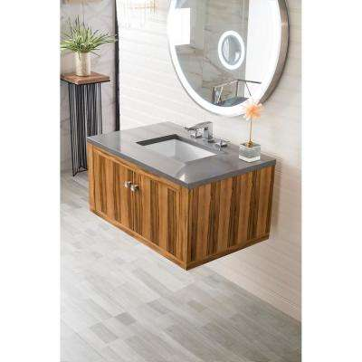 Silverlake 36 in. Single Bath Vanity in Natural Apple Wood with Quartz Vanity Top in Grey Expo with White Basin