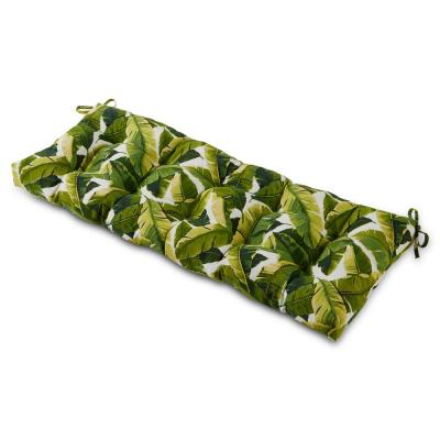 Palm Leaves White Rectangle Outdoor Bench Cushion
