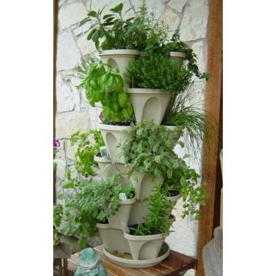 Vertical Gardening Self-Watering 12 in. Stacking Planters in Stone - 3-Pack Hanging Set