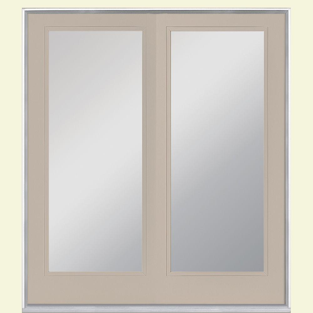 Masonite 72 in. x 80 in. Canyon View Steel Prehung Right-Hand Inswing Full Lite Clear Glass Patio Door Vinyl Frame, no Brickmold