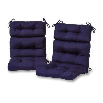 Solid Navy Outdoor High Back Dining Chair Cushion (2-Pack)