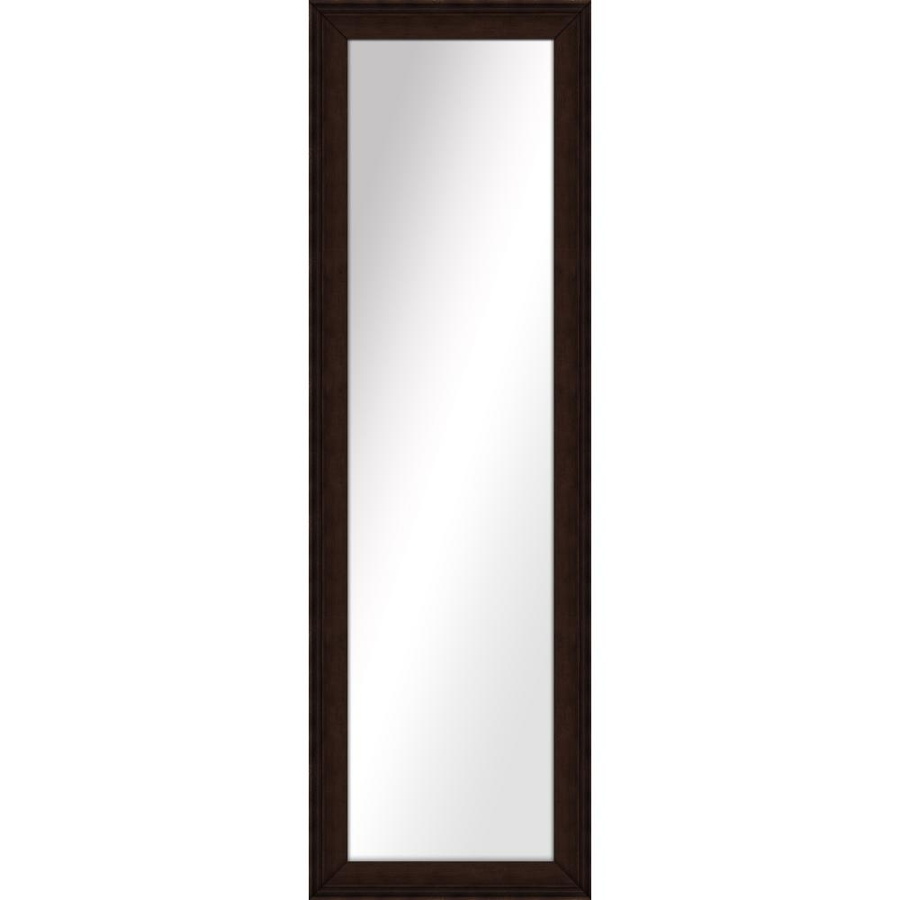 52.5 in. x 16.5 in. Brown Framed Mirror