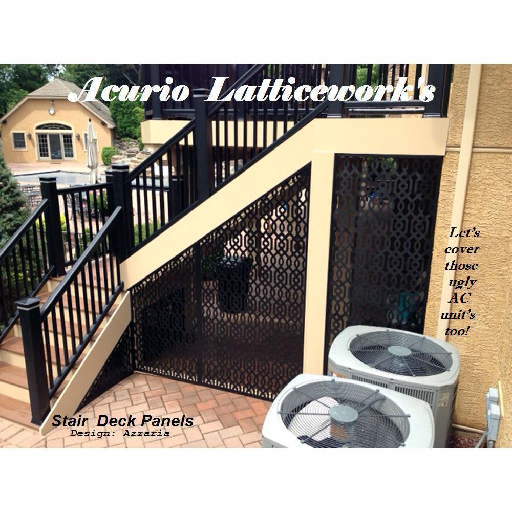 Acurio Latticeworks Azzaria 32 In X 4 Ft Black Vinyl Decorative